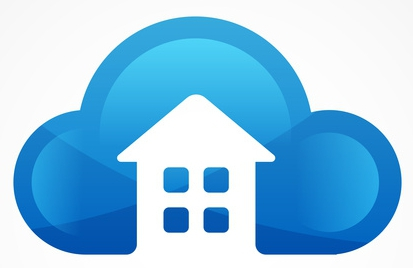 Cloud emblem with house silhouette. Abstract vector logo icon template.